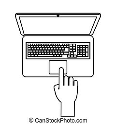 laptop topview with hand icon line design