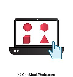 laptop touch with pink math shapes vector illustration design