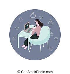 laptop, trabalhando mulher