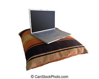 laptop, travesseiro