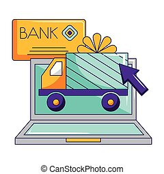 laptop truck delivery bank card gift online shopping