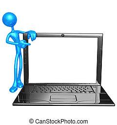 laptop, ułożyć