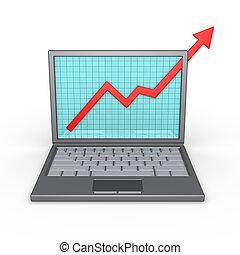 laptop, und, guten, finanziell, ergebnisse
