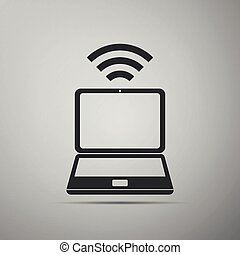 Wohnung, laptop, -, anschluss, router, minimal, ikone.