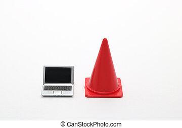 laptop, und, sicherheit, cone.