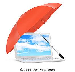 laptop under umbrella