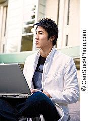 laptop, università, asiatico, studente