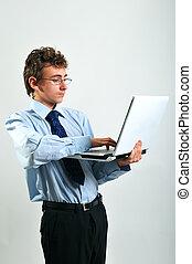 laptop, uomo affari, usando