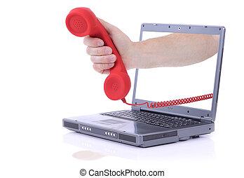 laptop urgent call - grey laptop with urgent phone call ...