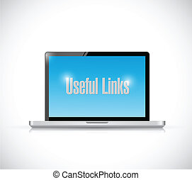 laptop useful links illustration design over a white...