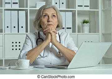 laptop, vecchio, lavorativo, dottore