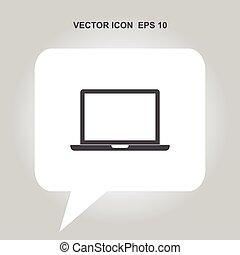 laptop, vektor, ikon