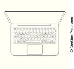 laptop, vetorial, computador, esboço, caderno