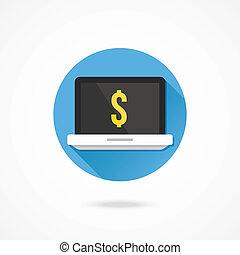 laptop, vetorial, dólar, ícone, sinal