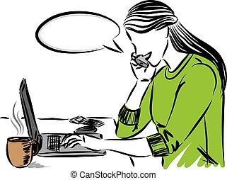 laptop, vetorial, ilustração, bonito, trabalhando mulher, computador