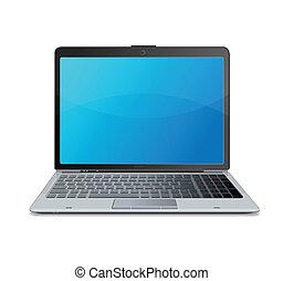 laptop, vetorial, isolado, branca