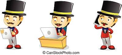 laptop, vettore, arte, circo