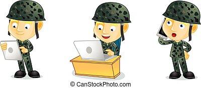 laptop, vettore, arte, esercito