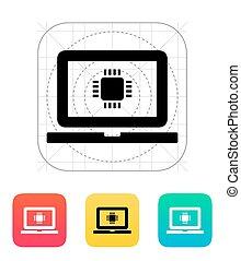 laptop, vettore, cpu, icon., illustration.