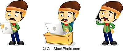 laptop, vettore, guardaboschi
