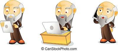 laptop, vettore, guru