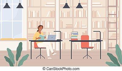laptop, vettore, lettura donna, scaffali, concetto, biblioteca, interno, signora, library., giovane, stanza, scrivante, libro, istruzione pubblica