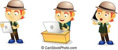 laptop, vettore, pescatore