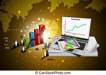 laptop, viser, en, regneark, og, en avis, hos, statistiske, kort