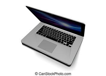 laptop, vit, isolerat