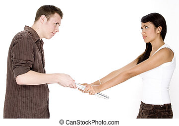 Laptop Wars - A young man and woman fight over a laptop