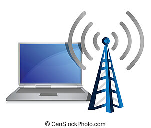laptop, wifi, torre, illustrazione
