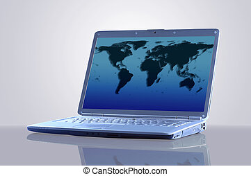 Laptop with a map of the world.