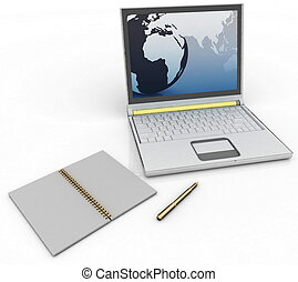 laptop with a notebook and pen