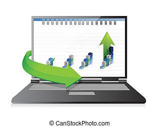 laptop with a set of business graphs. illustration design
