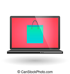 Laptop with a shopping bag