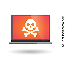 Laptop with a skull