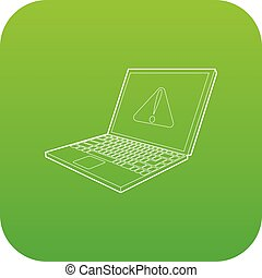 laptop with a warning signal icon green vector