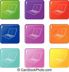 laptop with a warning signal icons set 9 color collection