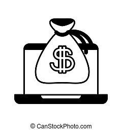 laptop with bag money on white background