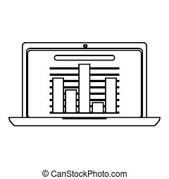 laptop with bar graph , Vector illustration