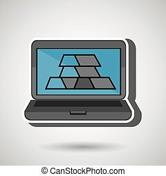 laptop with bars gold isolated icon design