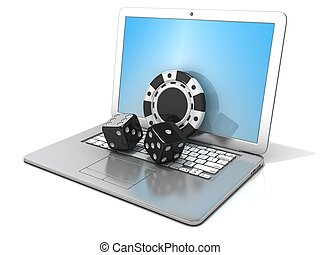Laptop with black dice and chip