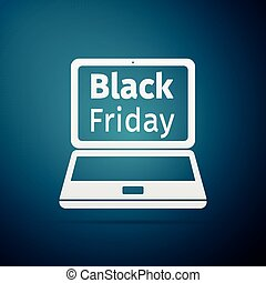 Laptop with Black Friday Sale on screen flat icon over blue background. Vector Illustration