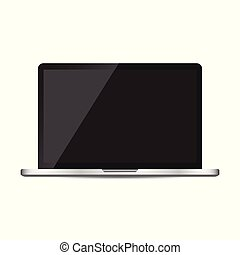 Laptop with black screen flat icon. Computer vector illustration on white background.