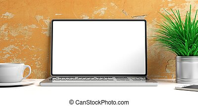 Laptop with blank screen and books on a white desk. 3d illustration