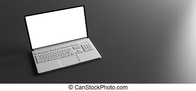 Laptop with blank screen isolated on black background. 3d illustration