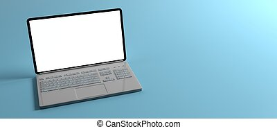 Laptop with blank screen isolated on blue background. 3d illustration