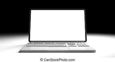 Laptop with blank screen isolated on white and black background. 3d illustration