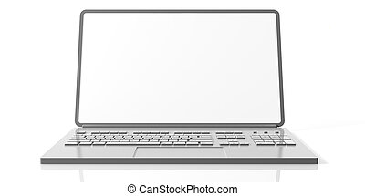 Laptop with blank screen isolated on white background. 3d illustration