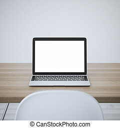 Laptop with blank screen on table. 3d rendering